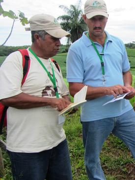 Climaco Marciaga and Jose Olguín González discuss restoration strategies during an ELTI field course on tropical forest restoration