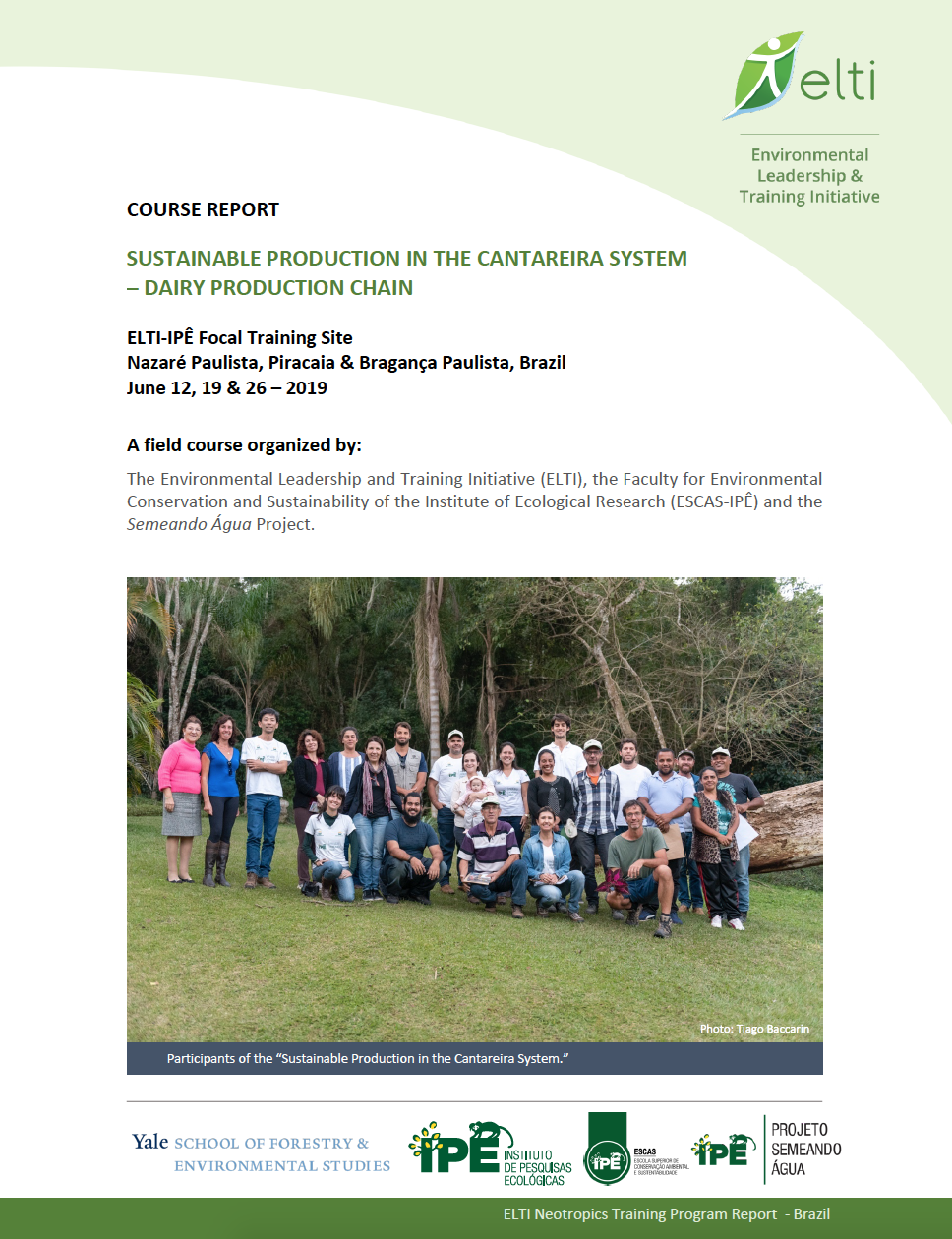Cover page for the course report