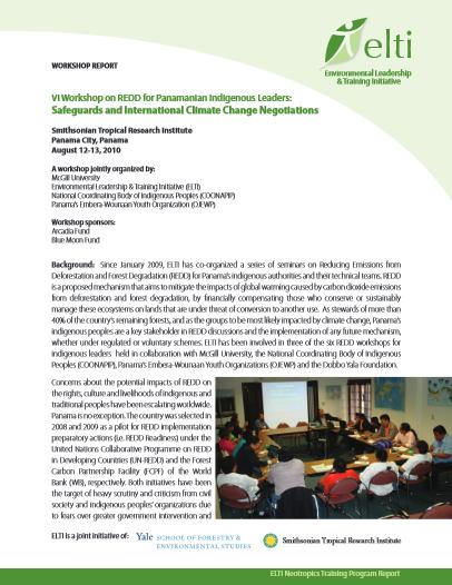 VI Taller sobre REDD para Líderes Indígenas de Panamá: Salvaguardias y Negociaciones Internacionales del Cambio Climático
