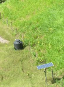 The solar-powered cattle aqueduct system on Alcibiades' model silvopastoral system farm.