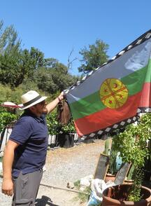 David shows the flag of his Mapuche people