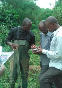 Moses conducting a water quality assessment in Rwizi catchment, southwestern Uganda