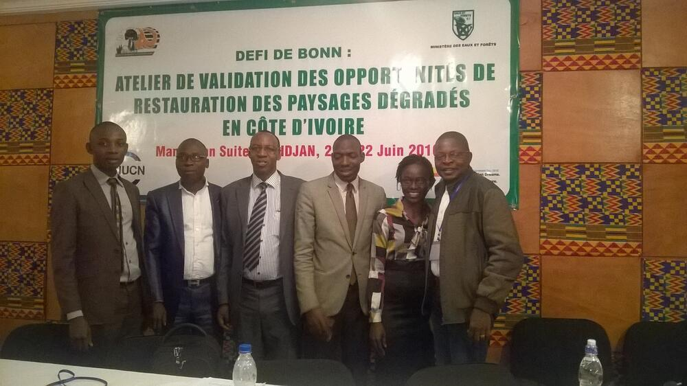 Koffi Etienne (far left) with AKE Jerome, Elie Hakizumwami, Zana Inzan Ouattara, Ange-Marie Botroh and Dominique Endamana at a workshop on identifying restoration opportunities in degraded landscapes in Côte d'Ivoire.