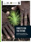 """Close-up shot of hands planting a seedling. Includes the title text, """"Forests for the Future: Restoration Success at Landscape Scale: What will it take and what have we learned?"""""""